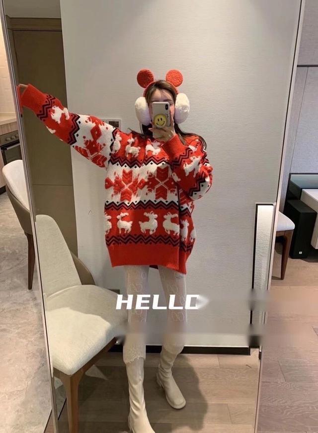 韩版圣诞针织衫