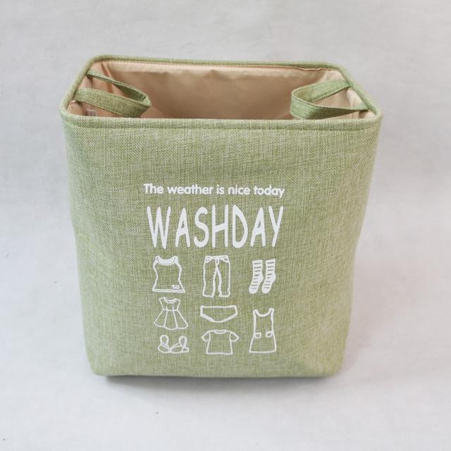 北歐風 衛浴收納籃 置物籃 印花仿棉麻洗衣籃 布藝收納框