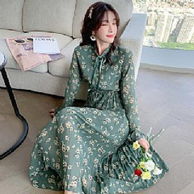 S✿優質歐韓女裝SCA0068韓版專櫃 優雅網紅碎花收腰連衣裙