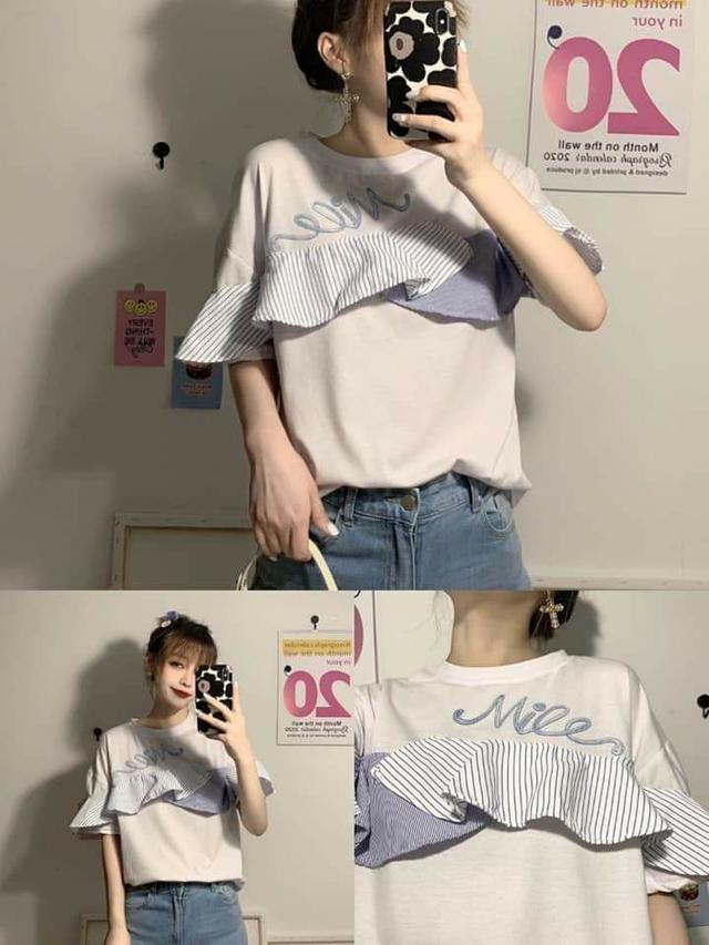 韓版荷葉胸圍設計混棉T