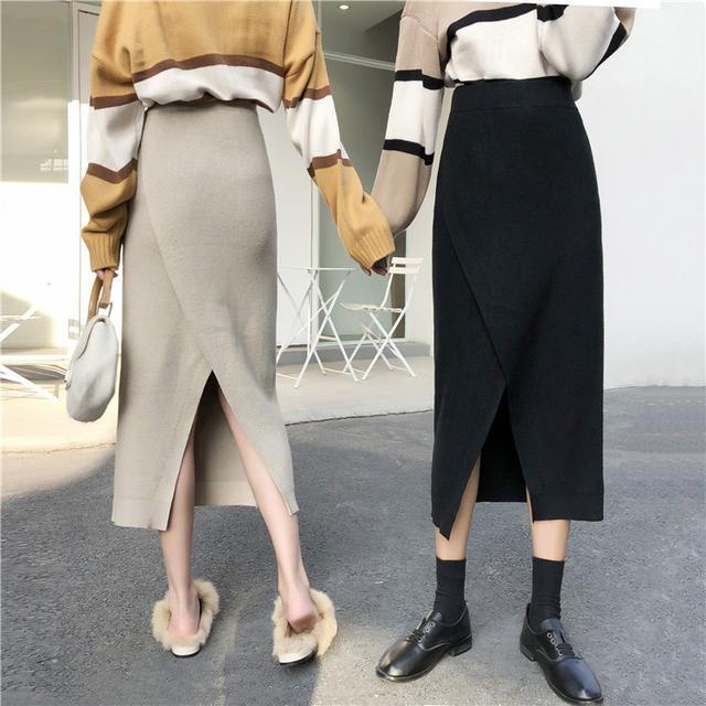 B 12/11 叉針織半身裙 包臀一步裙 (2色)