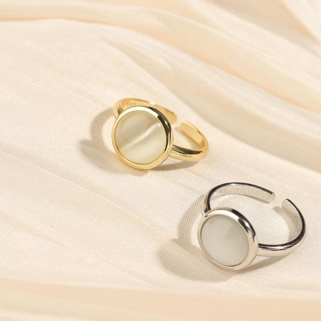 S925純銀輕奢感貓眼石戒指氣質法式復古開口調節指環女新款潮
