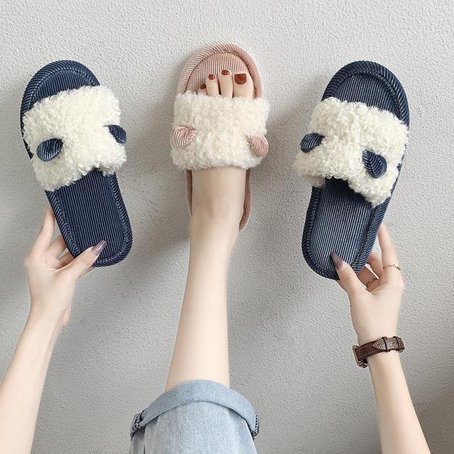 預購-棉拖鞋女冬季保暖居家ins可愛毛毛绒拖鞋(卡)