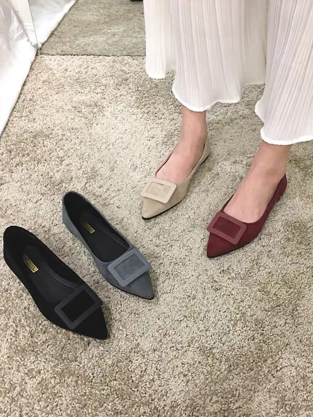 (預購)尖頭平底單鞋女2020春季新款春秋红色春款黑色網红淺口工作鞋女鞋