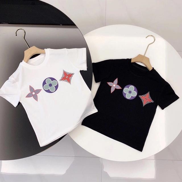 2021男童夏款兒童字母印花L家花朵女童中小童短袖T恤潮範童裝