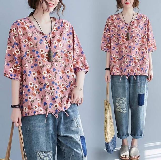 寬鬆V領透氣花漾半袖衫  (均碼 L~3XL適穿)