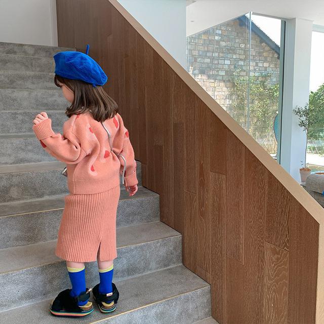 女童秋裝套裝兒童針織衫毛衣網紅春秋季2021新款洋氣兩件套