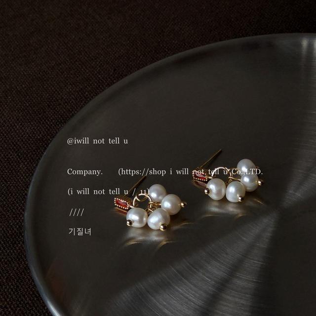 淡水珍珠925銀針鍍14K法式復古手作設計感葡萄串耳釘女耳飾耳環
