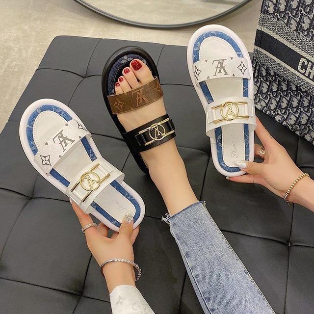 2020新款拖鞋女夏季外穿網紅百搭平底水鑽一字拖涼拖