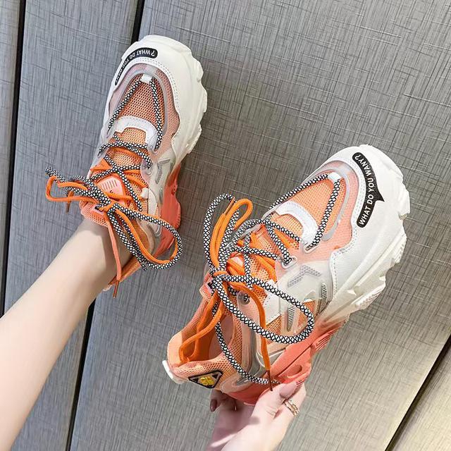 漸變色超輕厚底舒適透氣網面ins超火老爹鞋女2020春夏新運動跑鞋 尺寸35-40