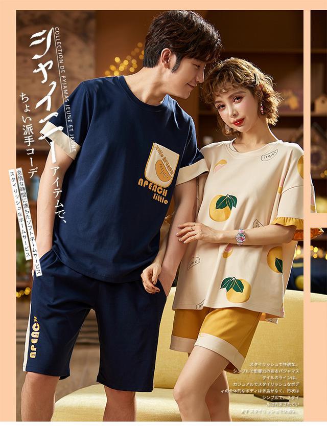 【預購】韓版情侶短袖套裝睡衣
