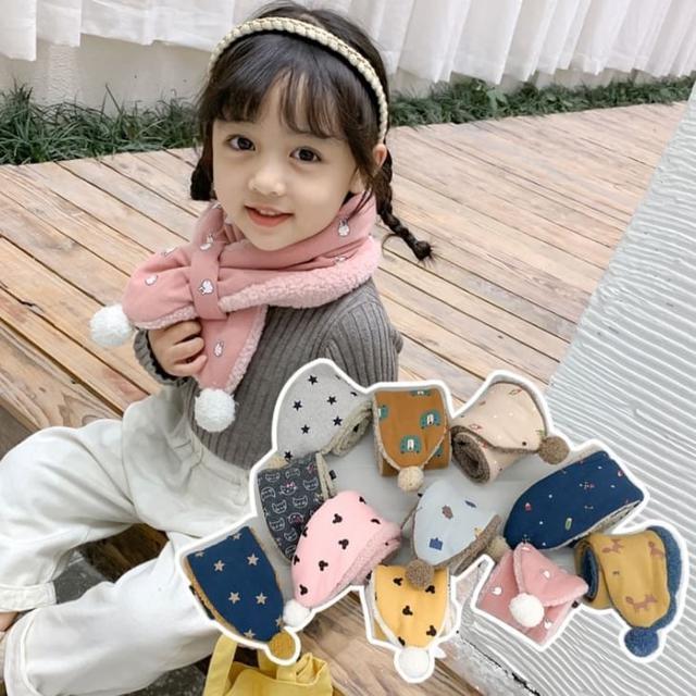 韓版秋冬新品羊羔毛絨兒童圍巾