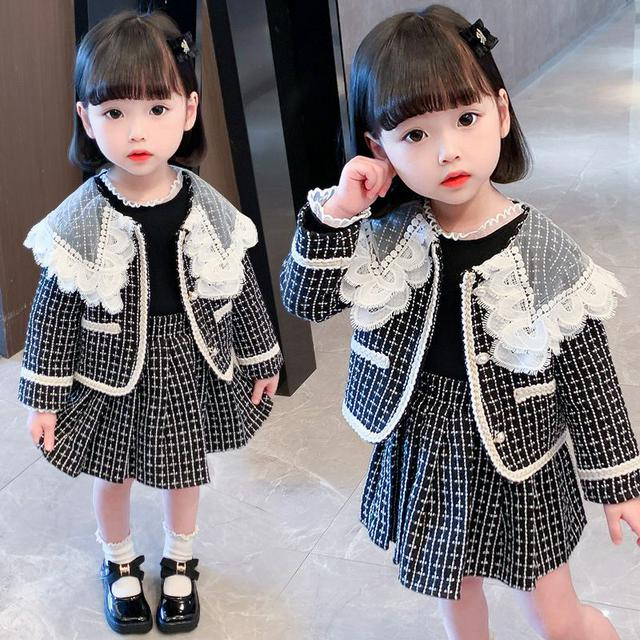 女童花邊領格子套裝2021秋季新款兒童韓版時尚小女孩洋氣二件套潮