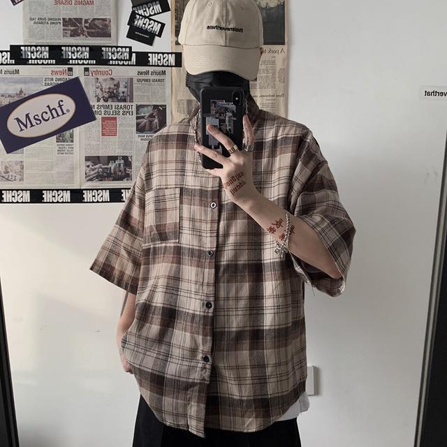 0615 M-XL 男女款 原宿風經典短袖襯衫