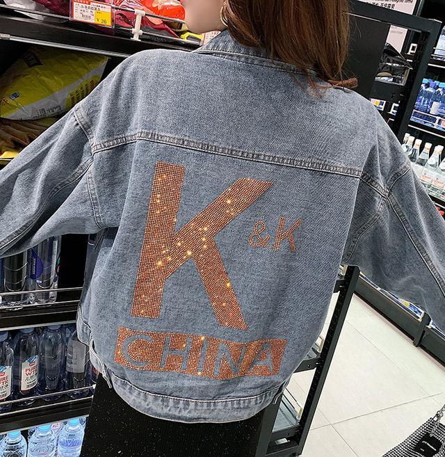 11 S-XL 設計感重工字母寬鬆牛仔外套(2色)