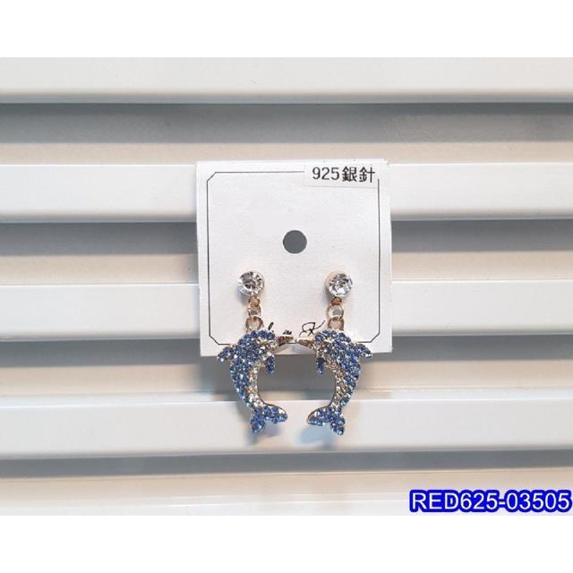 正韓S925純銀 可愛閃鑽海豚耳環   耳針 韓式