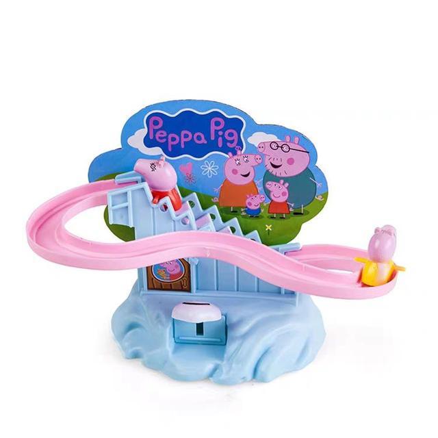玩具軌道車玩具滑滑梯拼裝爬上樓梯粉紅佩琪LSJ19072508