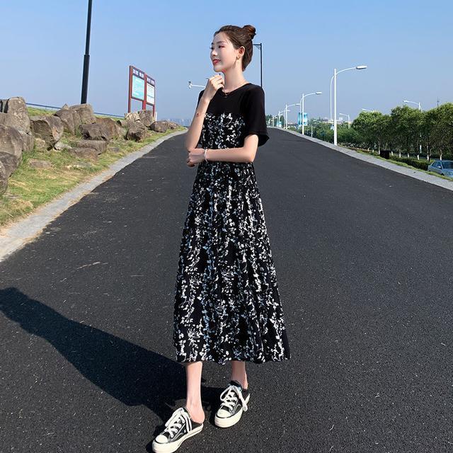 連衣裙女2020夏裝新款赫本風中長款拼接碎花裙氣質高腰顯瘦長裙夏