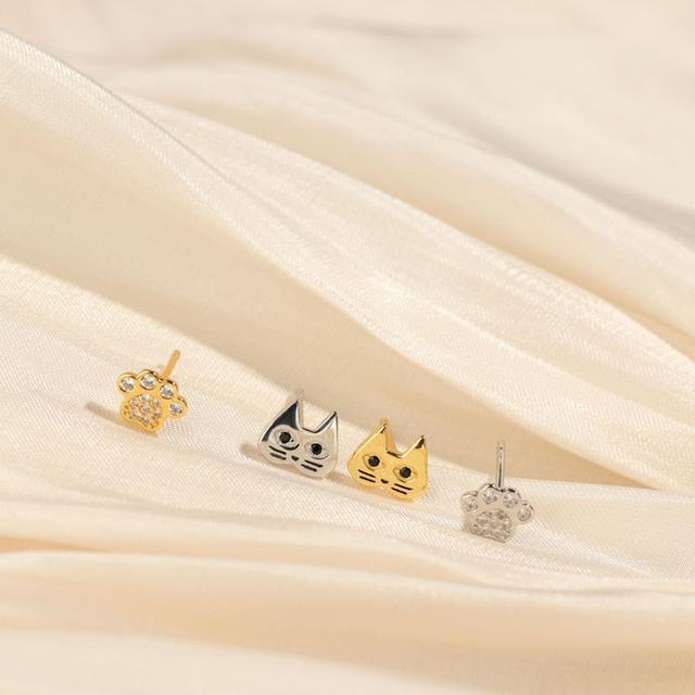 S925純銀小貓咪爪子組合耳釘小巧可愛不對稱設計感迷你耳環女