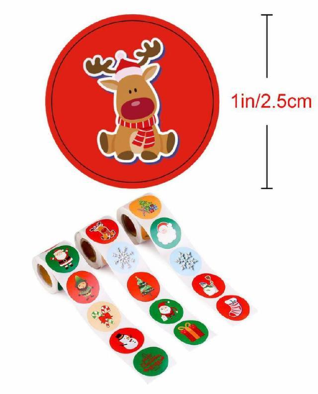 (預購s+) 聖誕多用途圓形貼紙(一組2卷)