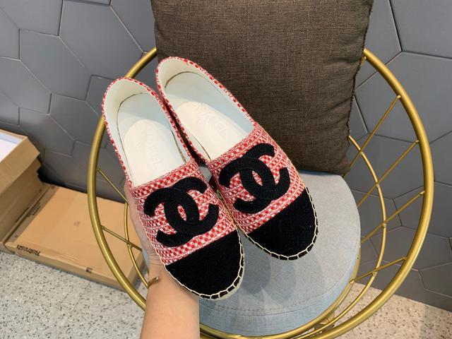 2020Chanel 香奈兒最新款漁夫鞋,棉麻拼色鞋面,