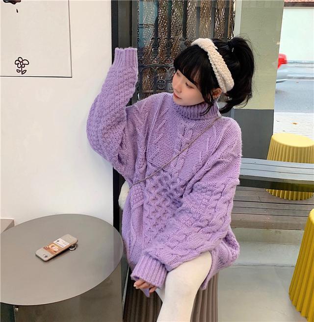 B 12/11 麻花高領長袖毛衣(3色)