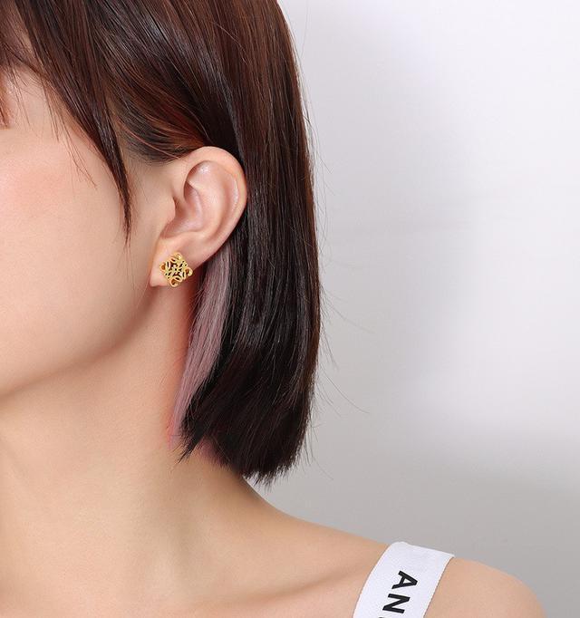 歐美熱銷流行誇張立體鏤空幾何個性耳飾鈦鋼18K金耳環女
