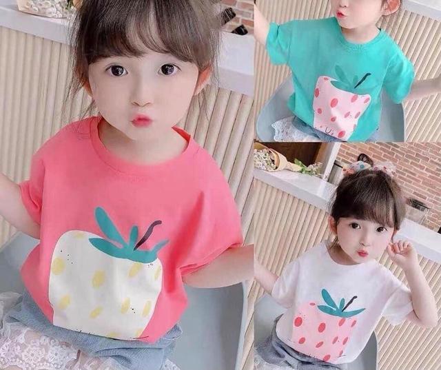 中小童草莓短T