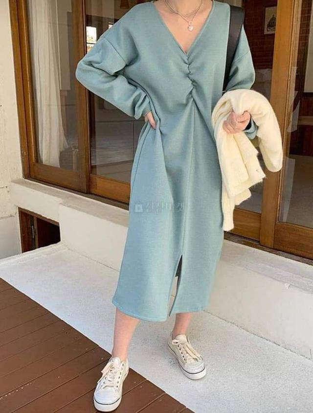 【預購🇰🇷韓國】V領休閒拉絨洋裝