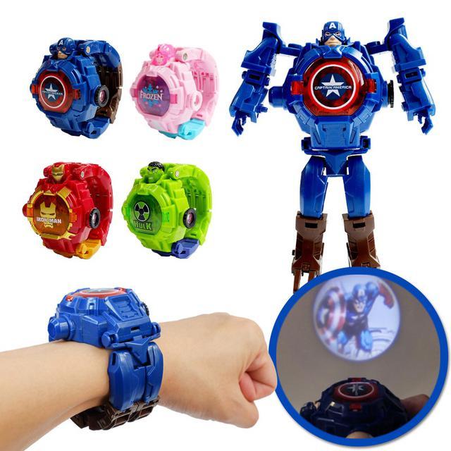 創意卡通變形手錶玩具機器人男孩兒童變身玩具燈光投影手錶地攤
