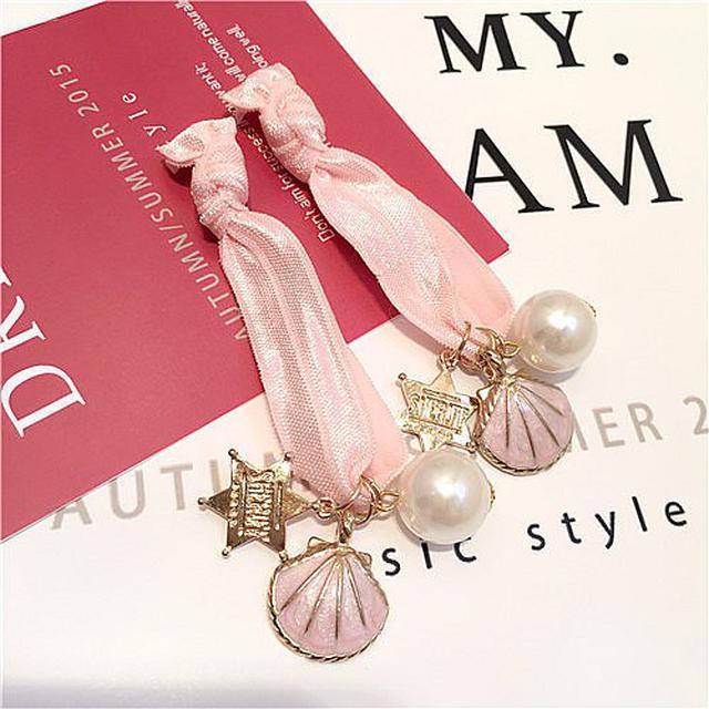 韓國貝殼星星珍珠皮筋