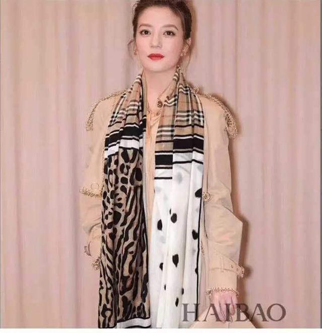 趙薇同款時尚格子豹紋點點薄巾