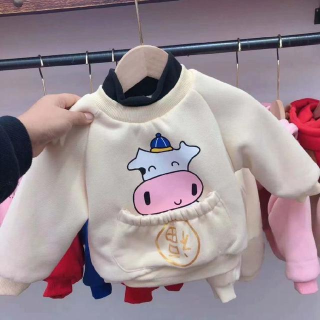 童裝冬款三層夾棉加厚年服衛衣加絨卡通牛年喜慶上衣