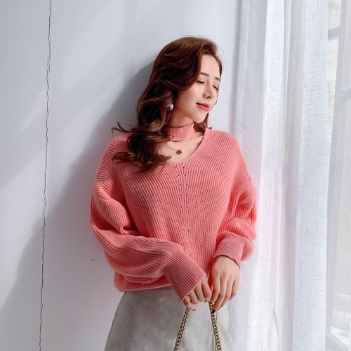 11 甜美設計掛脖針織衫毛衣(4色