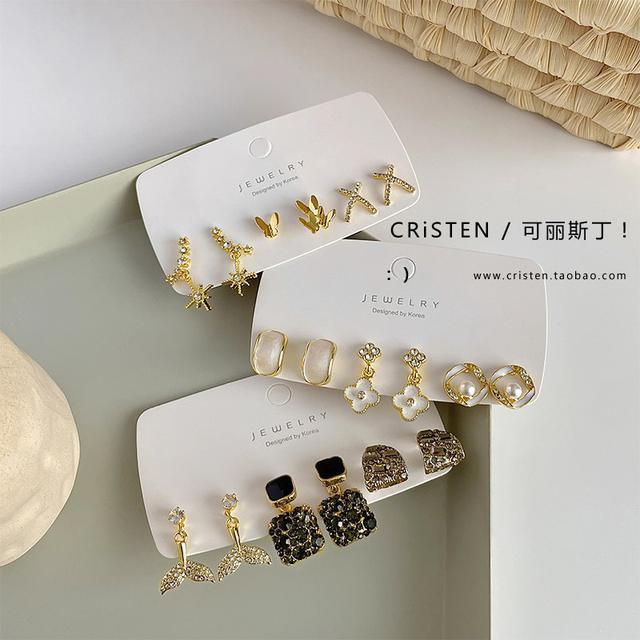 預購  新款潮耳環高级氣質耳钉纯银简约設計感耳饰套装(平)