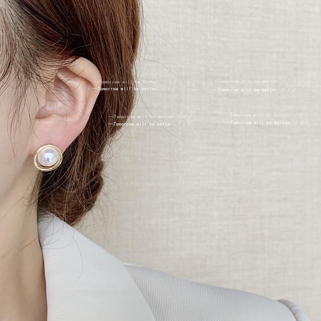 925銀針法式圓形幾何高級感珍珠耳釘女日韓氣質甜美IG耳飾