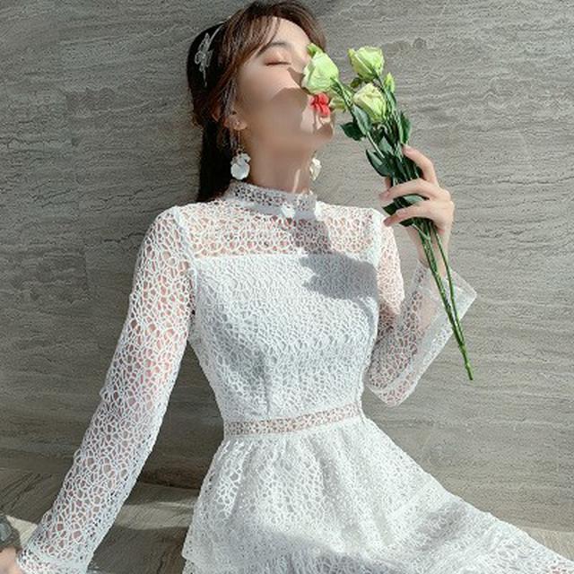 S✿優質歐韓女裝SC78598韓版專櫃 法國小眾桔梗鏤空蕾絲連衣裙