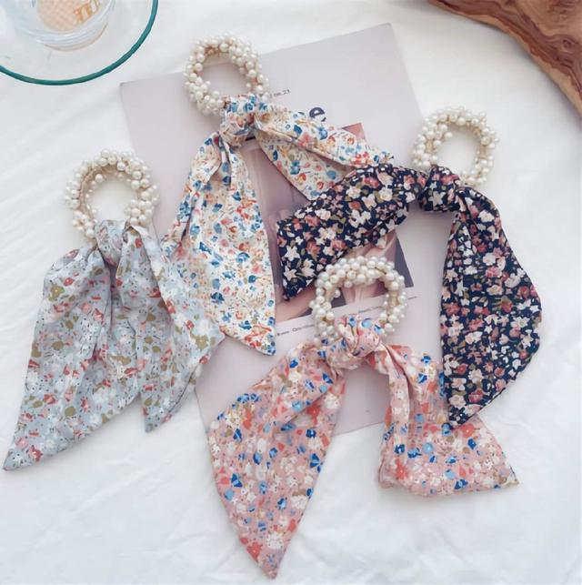 (預購s+) F027-氣質絲巾飄帶珍珠髮圈(一組3個)