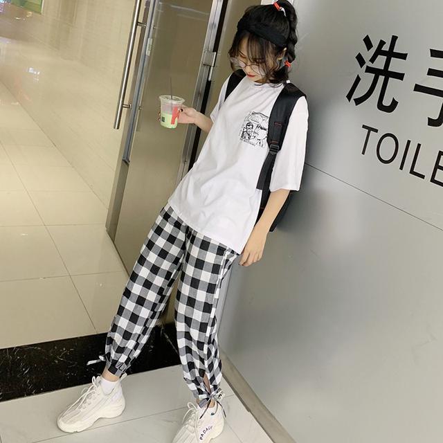 韓版時尚俏皮學生短袖上衣格子長褲