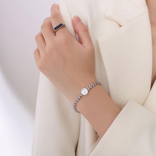 歐美IG小眾設計質感麥穗手鏈白海貝桃心手飾鈦鋼18K手鏈首飾