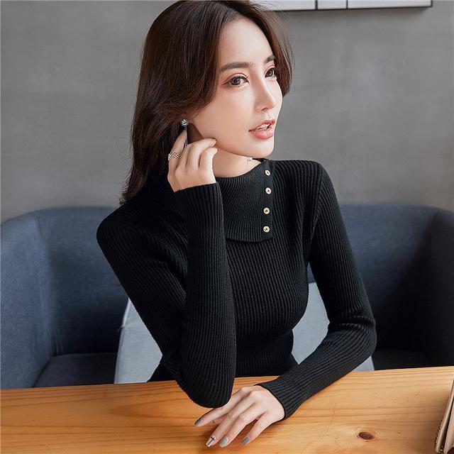 11 韓版修身上衣黑色長袖百搭針織