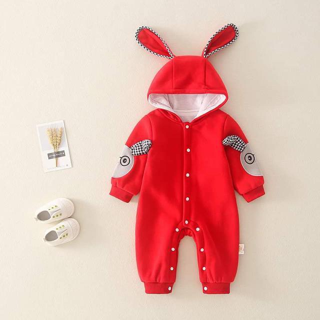 【預購】寶寶立體兔耳袖純棉兔裝
