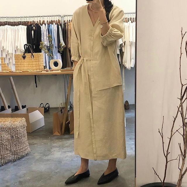 韓國chic極简主義 優雅V领單排扣襯衫裙寬鬆設計感側系带連衣裙(c)