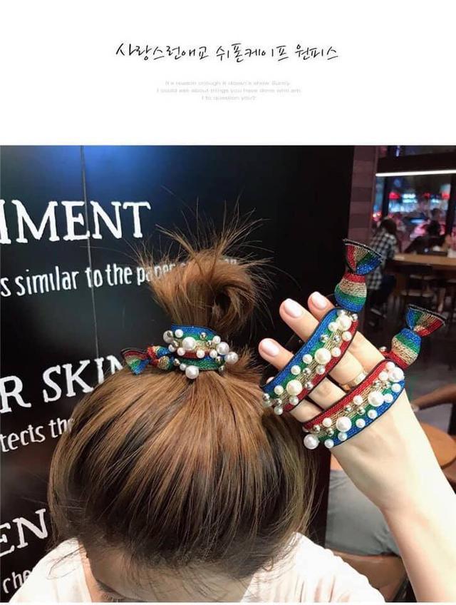 韓國珍珠彈力髮袋 顏色隨機配 一組10條