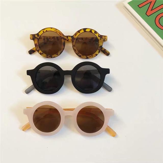 新款復古磨砂質感圓框兒童太陽眼鏡