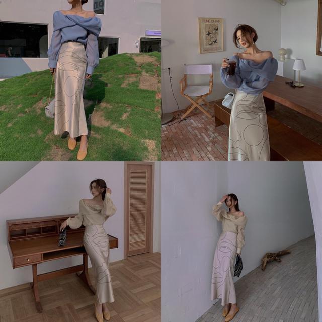 預購設計感一字領襯衫+高腰綢緞抽象畫半身裙 套裝