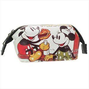 現貨 日本 迪士尼 米奇 全開式 皮質 化妝包 小物收納 小包