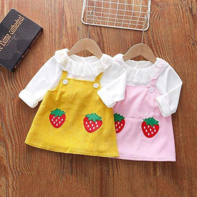 『秋冬-預購』萌萌草莓假兩件洋裝