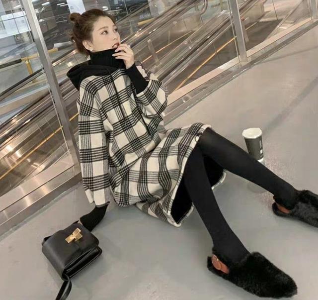 韓版時尚個性格紋連帽連衣裙