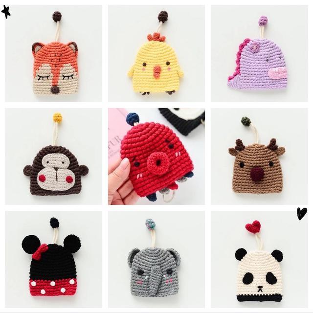 可愛動物編織鑰匙包